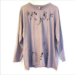 ASOS Distressed Tee Shirt - Plum Size 16